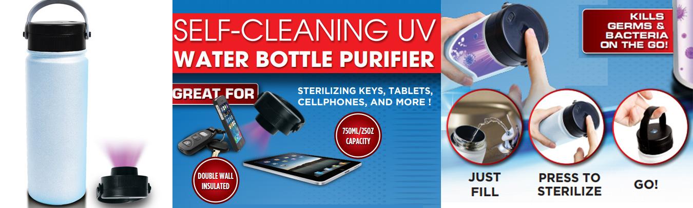Self cleaning uv water bottle purifier
